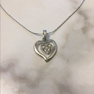 Beautiful Silver Heart with Rhinestone Necklace